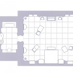 Plano de la habitación blanca (2001 A Space Odyssey, Stanley Kubrick, 1968) realizado por Jorge Gorostiza